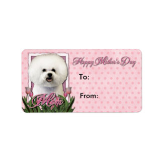 Mothers Day - Pink Tulips - Bichon Frise Personalized Address Label