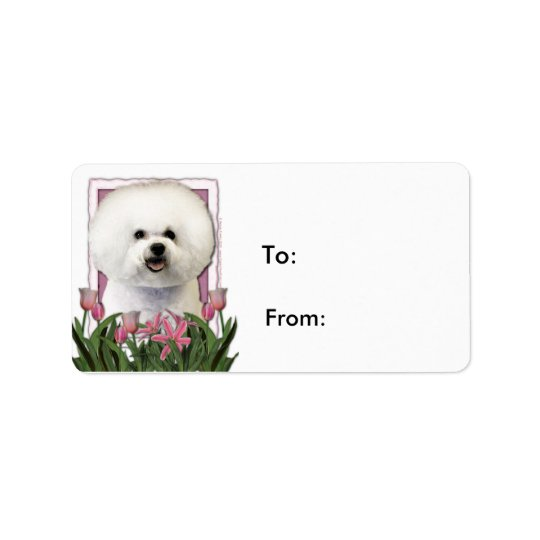 Mothers Day - Pink Tulips - Bichon Frise Label