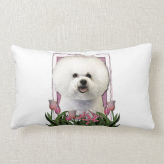 Mothers Day - Pink Tulips - Bichon Frise Lumbar Pillow