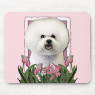 Mothers Day - Pink Tulips - Bichon Frise Mouse Pad