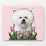 Mothers Day - Pink Tulips - Bichon Frise Mousepads