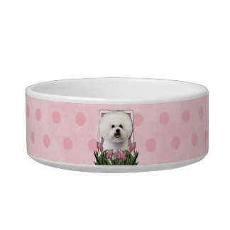 Mothers Day - Pink Tulips - Bichon Frise Cat Food Bowl