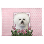 Mothers Day - Pink Tulips - Bichon Frise Cloth Placemat