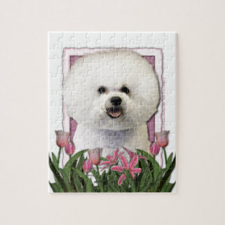 Mothers Day - Pink Tulips - Bichon Frise Jigsaw Puzzles