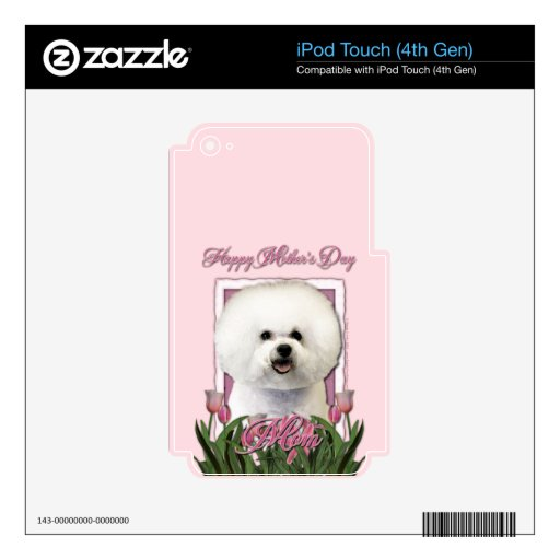 Mothers Day - Pink Tulips - Bichon Frise Decals For iPod Touch 4G