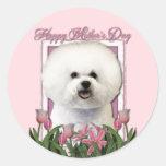 Mothers Day - Pink Tulips - Bichon Frise Sticker