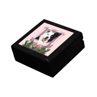 Mothers Day - Pink Tulips - Border Collie Jewelry Box