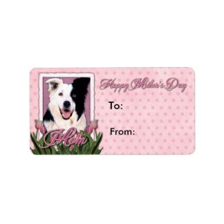 Mothers Day - Pink Tulips - Border Collie Personalized Address Labels