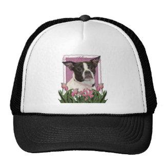 Mothers Day - Pink Tulips Boston & Rat Terrier Mix Trucker Hat