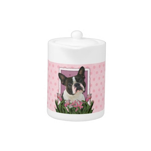 Mothers Day - Pink Tulips - Boston Terrier