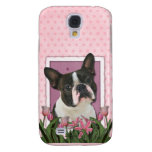 Mothers Day - Pink Tulips - Boston Terrier Samsung Galaxy S4 Cases