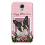 Mothers Day - Pink Tulips - Boston Terrier Galaxy S4 Case