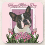 Mothers Day - Pink Tulips - Boston Terrier Drink Coaster
