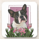 Mothers Day - Pink Tulips - Boston Terrier Drink Coasters