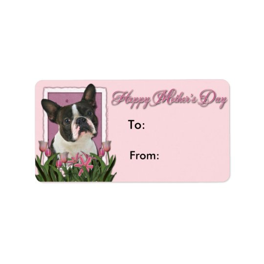 Mothers Day - Pink Tulips - Boston Terrier Label