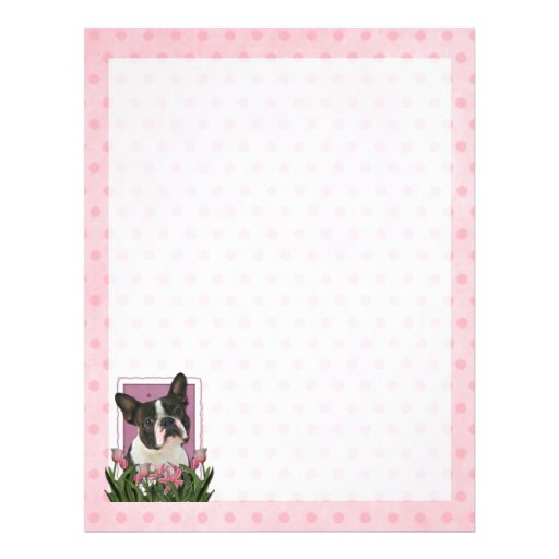 Mothers Day - Pink Tulips - Boston Terrier Letterhead Template