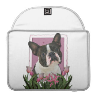 Mothers Day - Pink Tulips - Boston Terrier MacBook Pro Sleeves