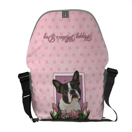 Mothers Day - Pink Tulips - Boston Terrier Messenger Bags
