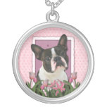 Mothers Day - Pink Tulips - Boston Terrier Round Pendant Necklace