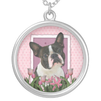 Mothers Day - Pink Tulips - Boston Terrier Pendant