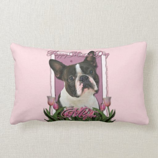 Mothers Day - Pink Tulips - Boston Terrier Pillows