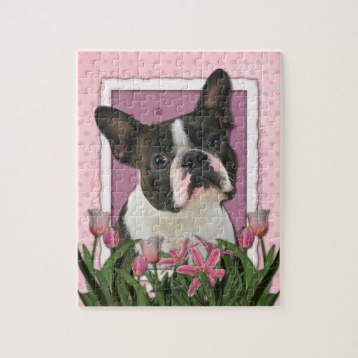 Mothers Day - Pink Tulips - Boston Terrier Jigsaw Puzzles