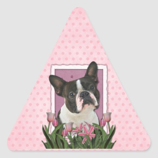Mothers Day - Pink Tulips - Boston Terrier Triangle Sticker