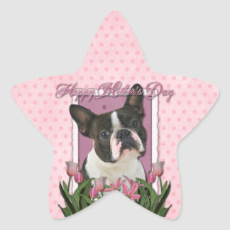 Mothers Day - Pink Tulips - Boston Terrier Star Sticker