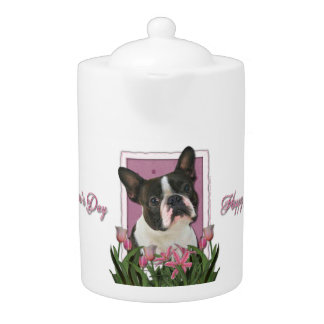 Mothers Day - Pink Tulips - Boston Terrier Teapot