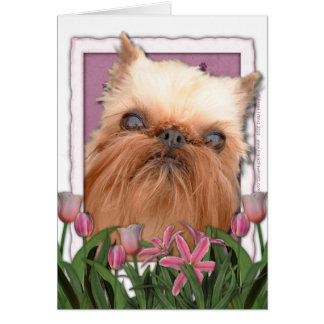 Mothers Day - Pink Tulips - Brussels Griffon Cards