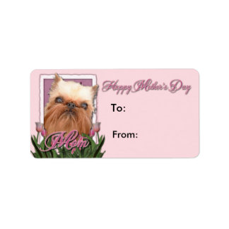 Mothers Day - Pink Tulips - Brussels Griffon Personalized Address Label