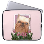 Mothers Day - Pink Tulips - Brussels Griffon Laptop Computer Sleeve