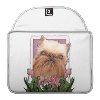 Mothers Day - Pink Tulips - Brussels Griffon Sleeves For MacBook Pro