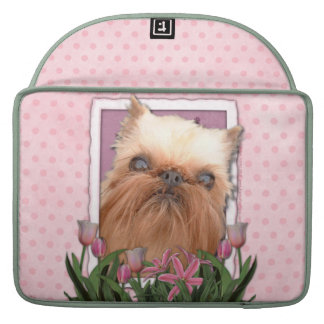 Mothers Day - Pink Tulips - Brussels Griffon MacBook Pro Sleeve