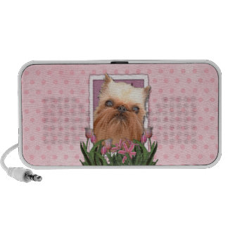 Mothers Day - Pink Tulips - Brussels Griffon Mini Speaker
