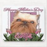 Mothers Day - Pink Tulips - Brussels Griffon Mousepads