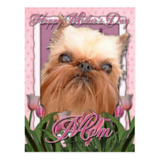 Mothers Day - Pink Tulips - Brussels Griffon Postcard