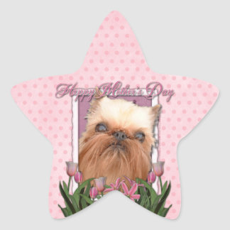 Mothers Day - Pink Tulips - Brussels Griffon Star Sticker
