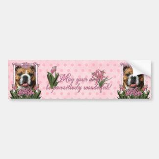 Mothers Day - Pink Tulips - Bulldog Car Bumper Sticker