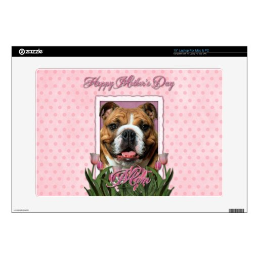 Mothers Day - Pink Tulips - Bulldog Laptop Decals