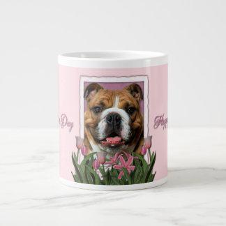 Mothers Day - Pink Tulips - Bulldog Large Coffee Mug