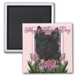 Mothers Day - Pink Tulips - Cairn Terrier - Rosco 2 Inch Square Magnet