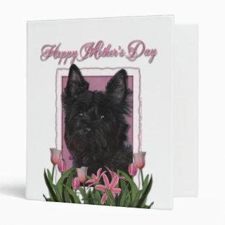 Mothers Day - Pink Tulips - Cairn Terrier - Rosco Vinyl Binder
