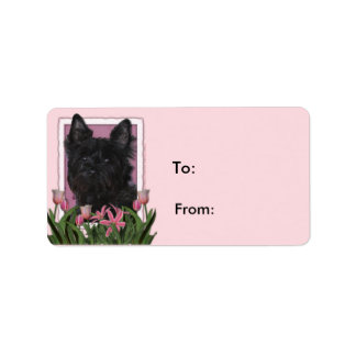 Mothers Day - Pink Tulips - Cairn Terrier - Rosco Labels