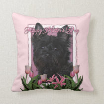 Mothers Day - Pink Tulips - Cairn Terrier - Rosco Throw Pillow