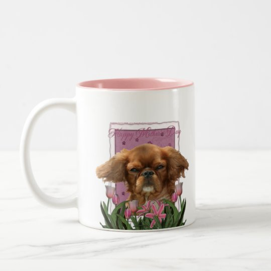 Mothers Day - Pink Tulips - Cavalier King Charles Two-Tone Coffee Mug