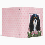 Mothers Day - Pink Tulips - Cavalier - Tri-Color Vinyl Binders