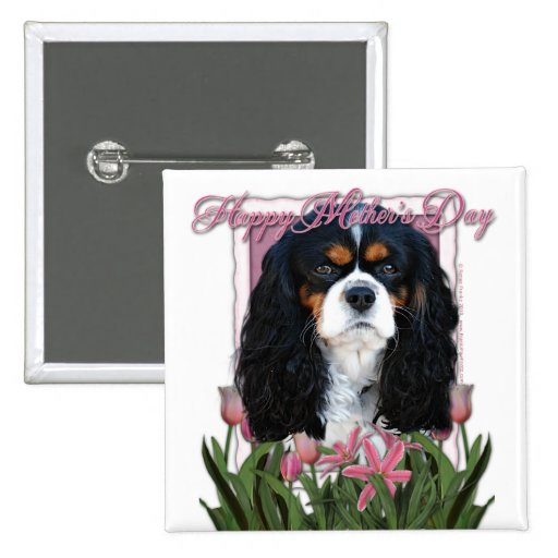 Mothers Day - Pink Tulips - Cavalier - Tri-Color 2 Inch Square Button