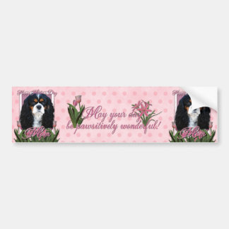 Mothers Day - Pink Tulips - Cavalier - Tri-Color Car Bumper Sticker