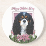 Mothers Day - Pink Tulips - Cavalier - Tri-Color Drink Coaster
